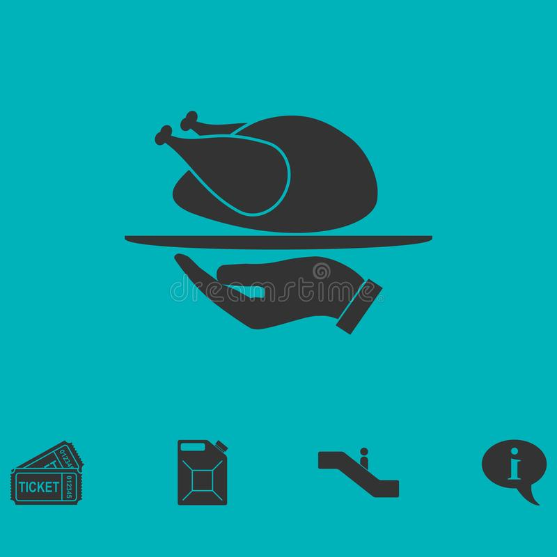 Icono asado del pavo completamente ilustración del vector