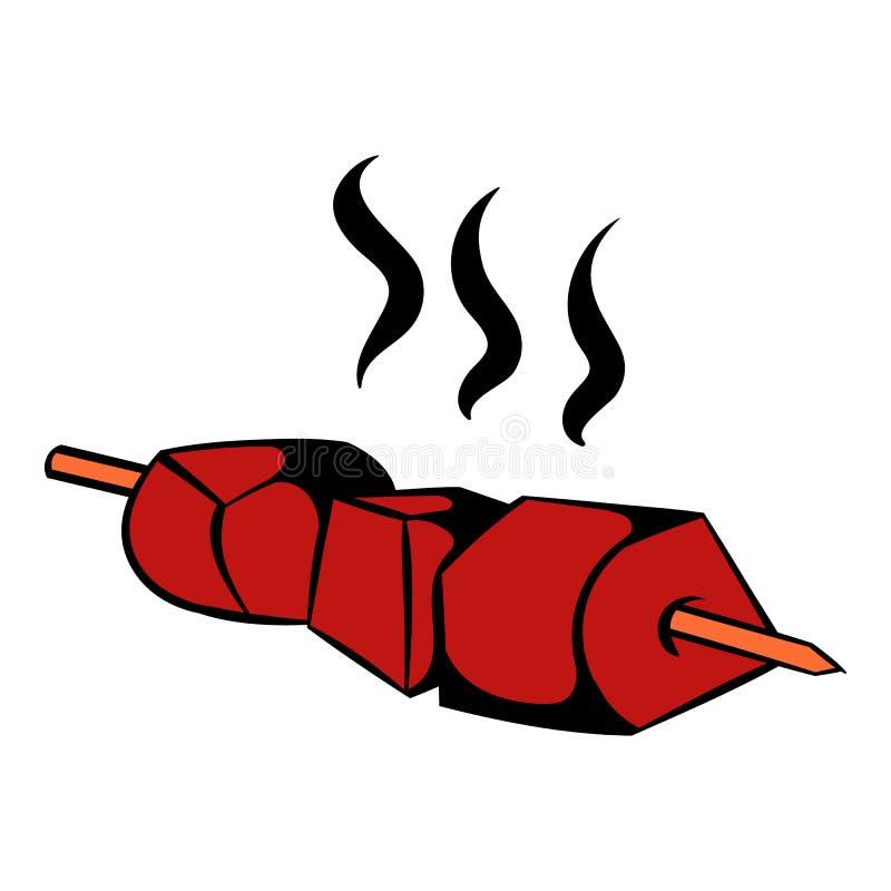 Icono asado a la parrilla barbacoa, historieta del icono ilustración del vector