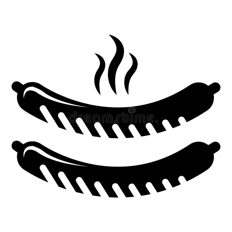 Icono asado a la parrilla de las salchichas, estilo negro simple libre illustration