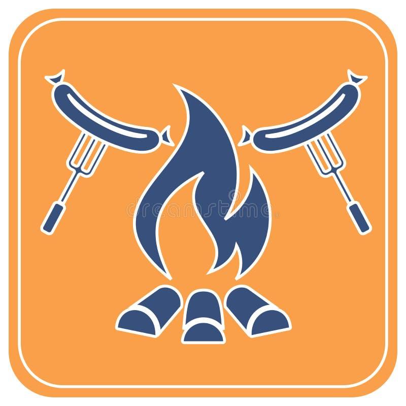 Icono asado a la parrilla de la salchicha libre illustration