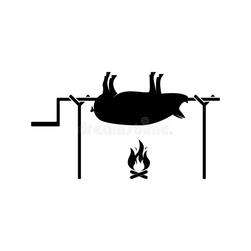 Icono asado a la parrilla del cerdo Ejemplo del vector del cochinillo asado en blanco ilustración del vector