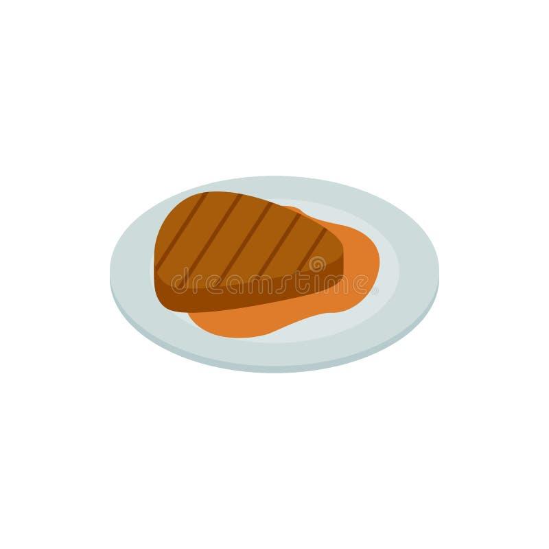 Icono asado a la parrilla del filete de la carne, estilo isométrico 3d stock de ilustración