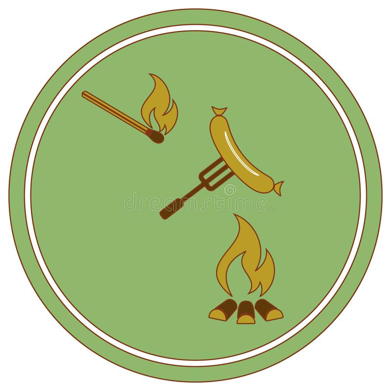 Icono asado a la parrilla del sausager stock de ilustración