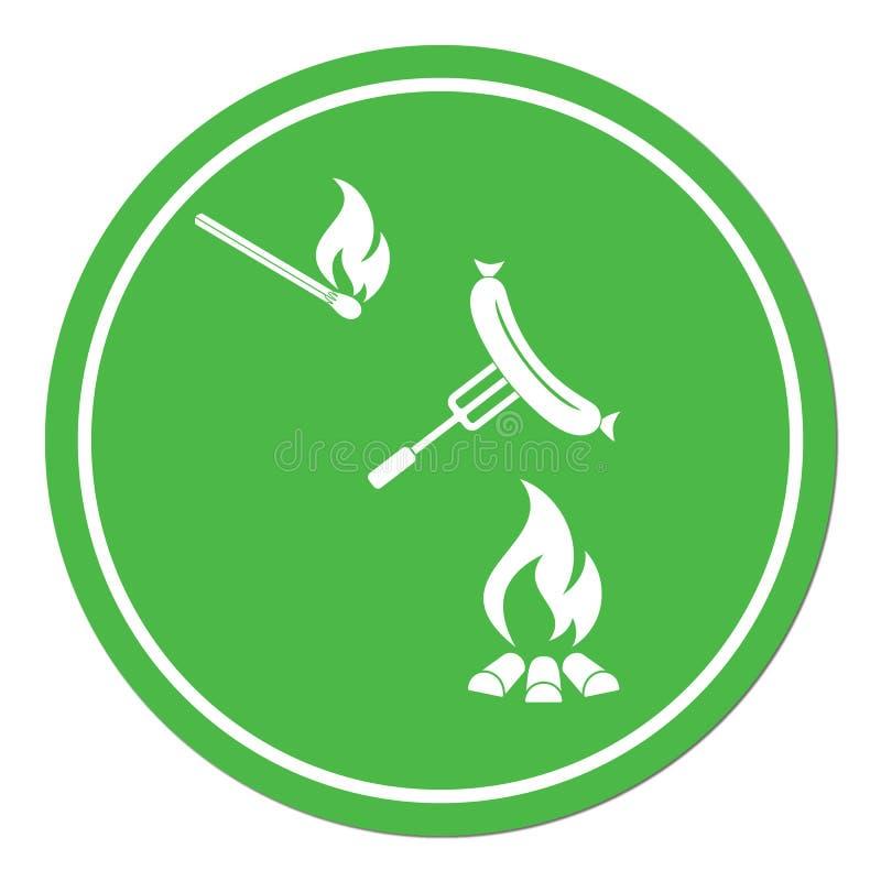 Icono asado a la parrilla del sausager ilustración del vector