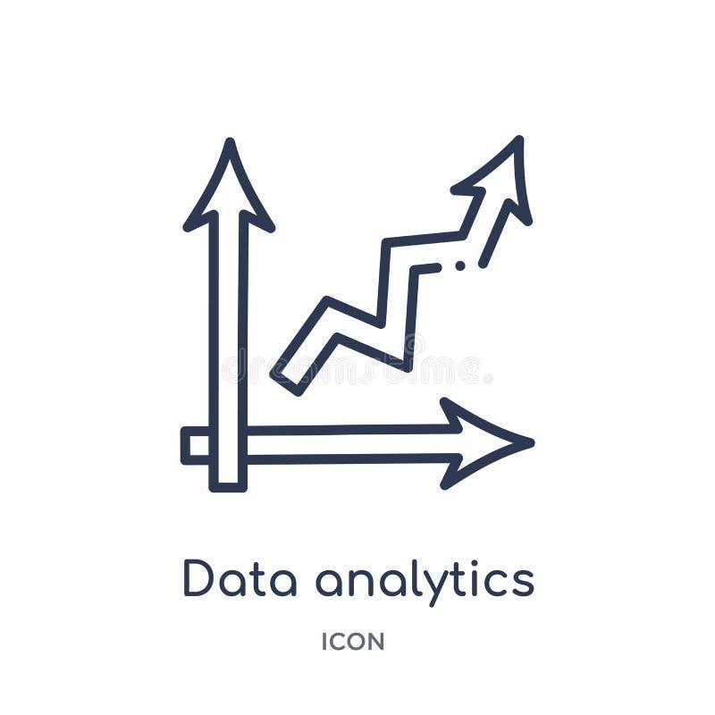 icono ascendente del analytics de los datos de la colección del esquema de la interfaz de usuario Línea fina icono ascendente del ilustración del vector