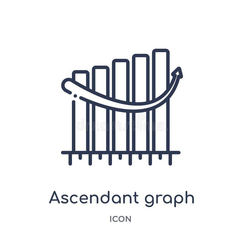 Icono ascendente linear del gráfico de la colección del esquema del negocio Línea fina icono ascendente del gráfico aislado en el libre illustration