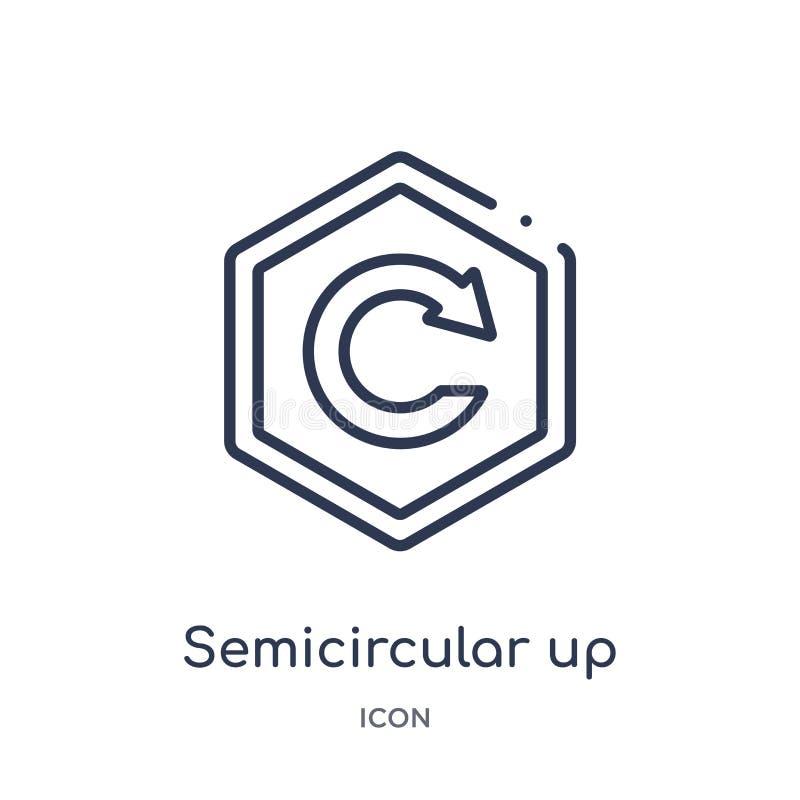icono ascendente semicircular de la flecha de la colección del esquema de la interfaz de usuario Línea fina icono ascendente semi stock de ilustración