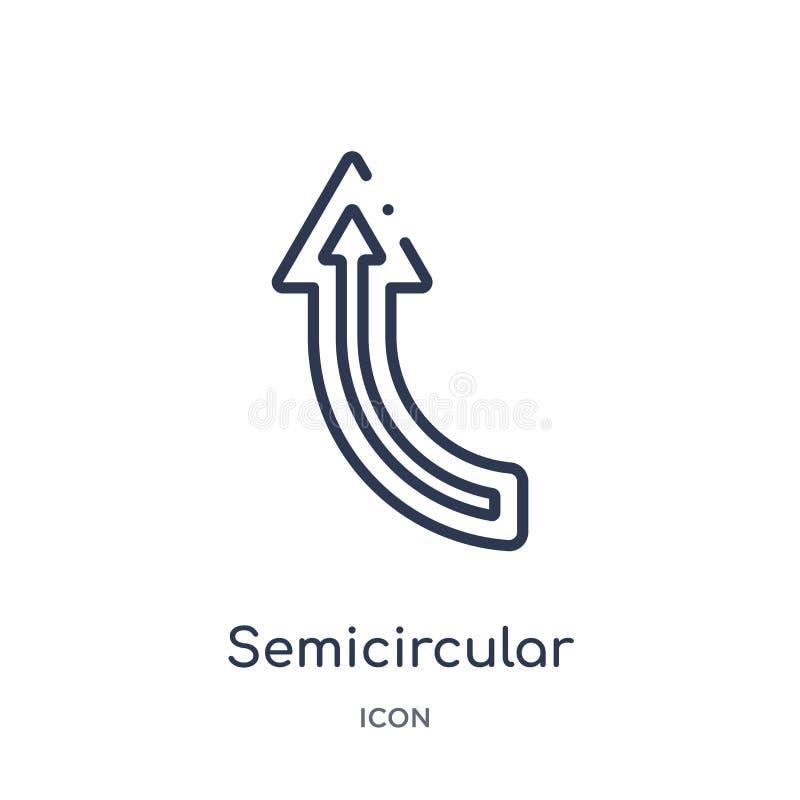 icono ascendente semicircular de la flecha de la colección del esquema de la interfaz de usuario Línea fina icono ascendente semi libre illustration