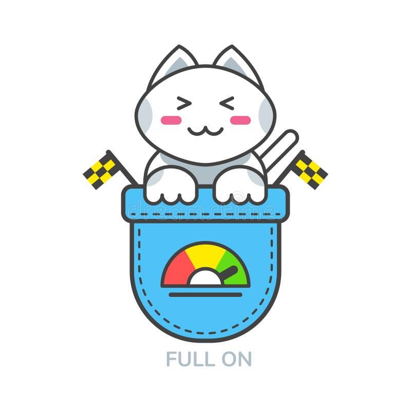 Icono asiático del emoji del gato lindo del bolsillo para por completo encendido el humor stock de ilustración