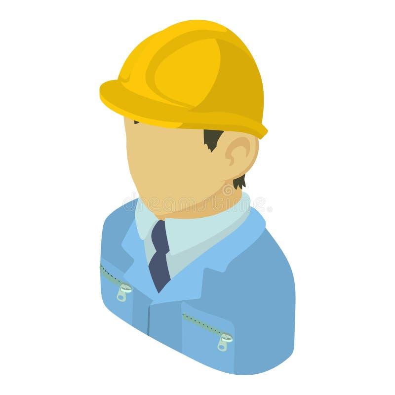 Icono asiático del ingeniero del constructor, estilo isométrico 3d ilustración del vector