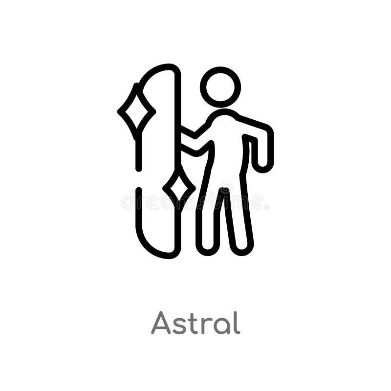 icono astral del vector del esquema línea simple negra aislada ejemplo del elemento del concepto mágico icono astral del movimien ilustración del vector