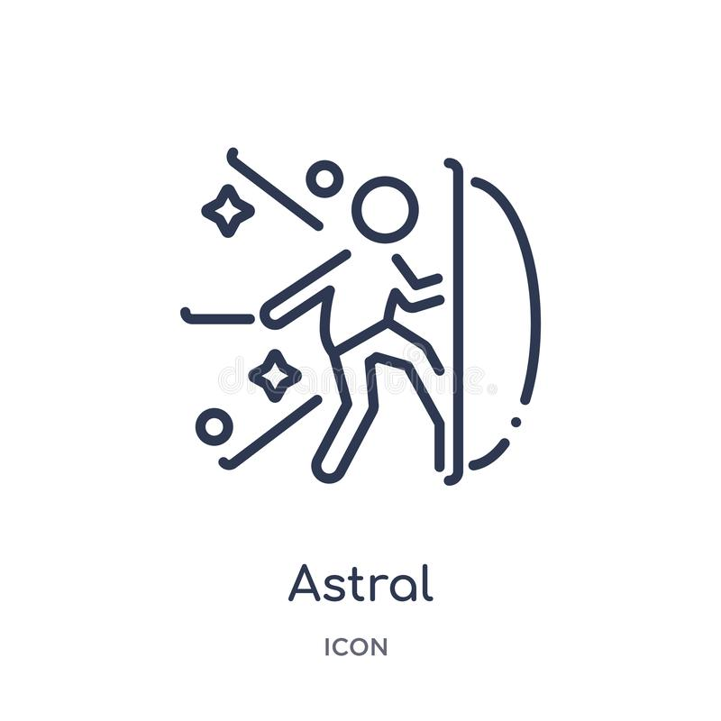 Icono astral linear de la colección mágica del esquema Línea fina icono astral aislado en el fondo blanco ejemplo de moda astral libre illustration