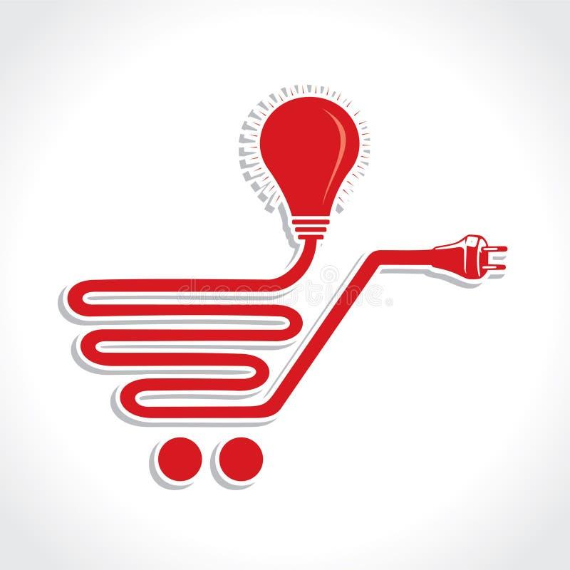 Icono atado con alambre del carro de la compra con el bulbo y el enchufe ilustración del vector