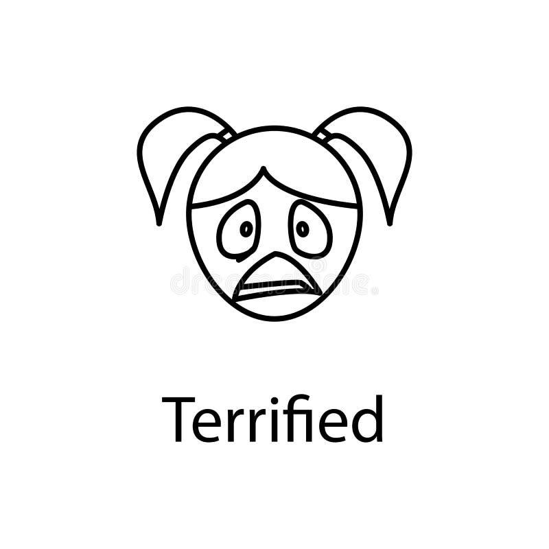icono aterrorizado de la cara de la muchacha Elemento de las emociones para el ejemplo móvil de los apps del concepto y del web L libre illustration