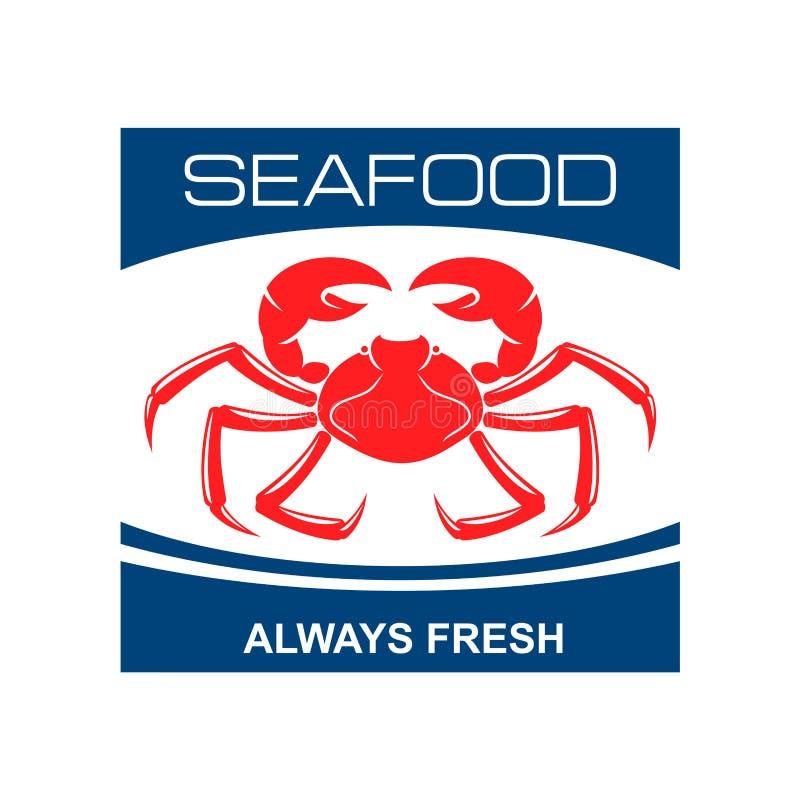 Icono atlántico del cangrejo de la nieve para el diseño de la barra de los mariscos ilustración del vector