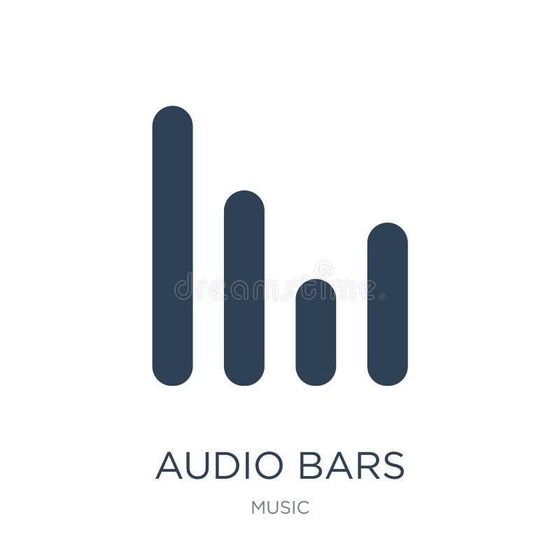 icono audio de las barras en estilo de moda del diseño icono audio de las barras aislado en el fondo blanco icono audio del vecto stock de ilustración