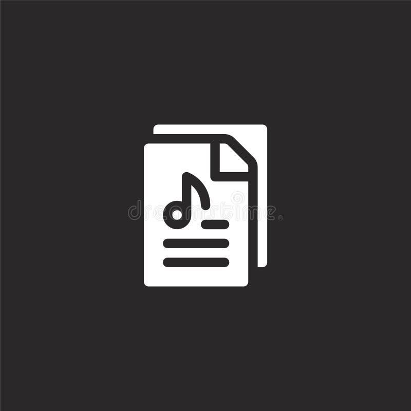 Icono audio del fichero Icono audio llenado del fichero para el diseño y el móvil, desarrollo de la página web del app icono audi ilustración del vector