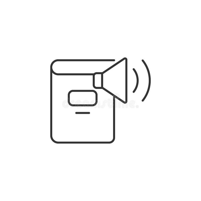 Icono audio del libro Ejemplo simple del elemento Plantilla audio del diseño del símbolo del libro Puede ser utilizado para el we stock de ilustración