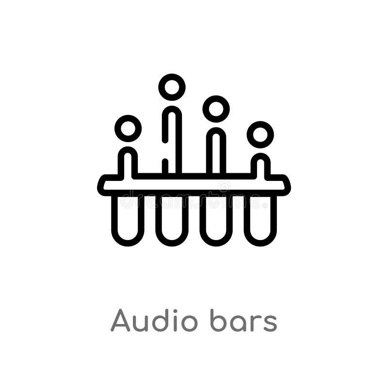 icono audio del vector de las barras del esquema l?nea simple negra aislada ejemplo del elemento del concepto de la m?sica audio  ilustración del vector