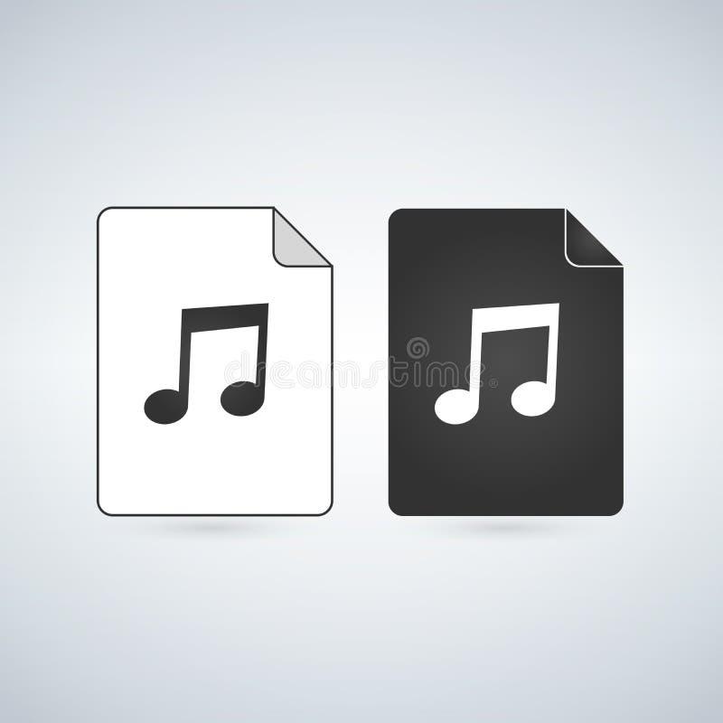 Icono audio del vector del fichero de documento con la nota de la música Muestra plana para el concepto y el diseño web móviles I libre illustration