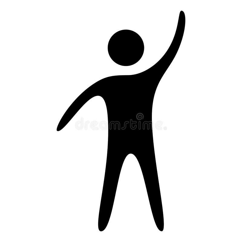 Icono aumentado hombre de la mano Un hombre de negocios con el brazo y el puño aumentados para arriba en el aire para celebrar un ilustración del vector