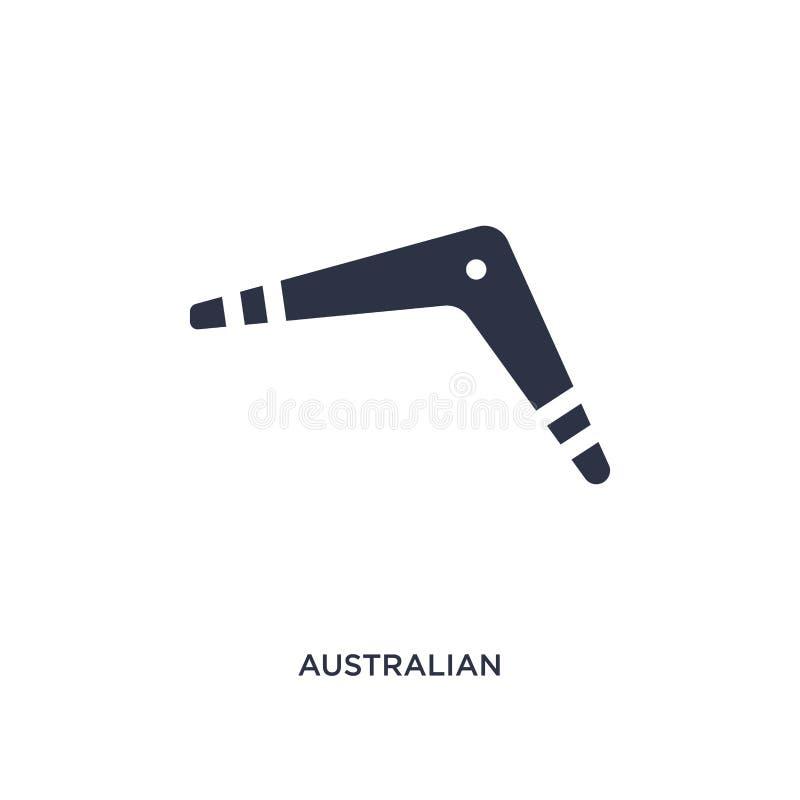 icono australiano del bumerán en el fondo blanco Ejemplo simple del elemento del concepto de la cultura stock de ilustración