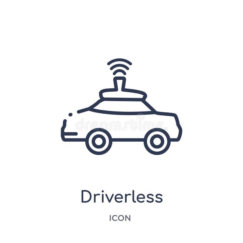Icono autónomo driverless linear del coche del intellegence artificial y de la colección futura del esquema de la tecnología Líne stock de ilustración