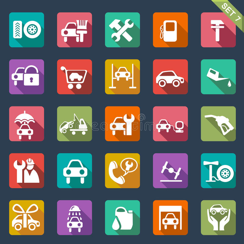 Icono auto del servicio fijado - diseño plano ilustración del vector