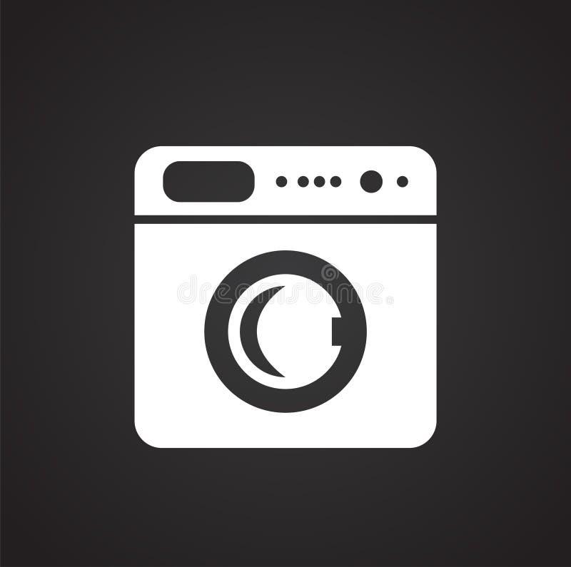 Icono automático de la lavadora en el fondo blanco para el gráfico y el diseño web, muestra simple moderna del vector Concepto de stock de ilustración