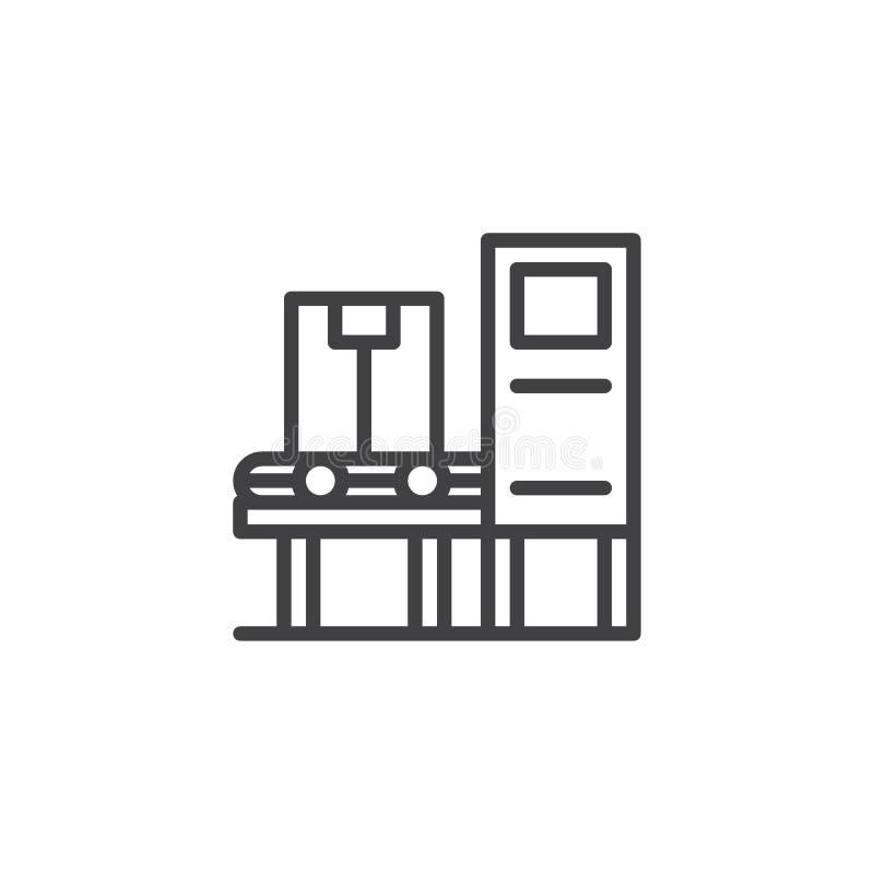 Icono automático industrial del esquema de la máquina de la correa ilustración del vector