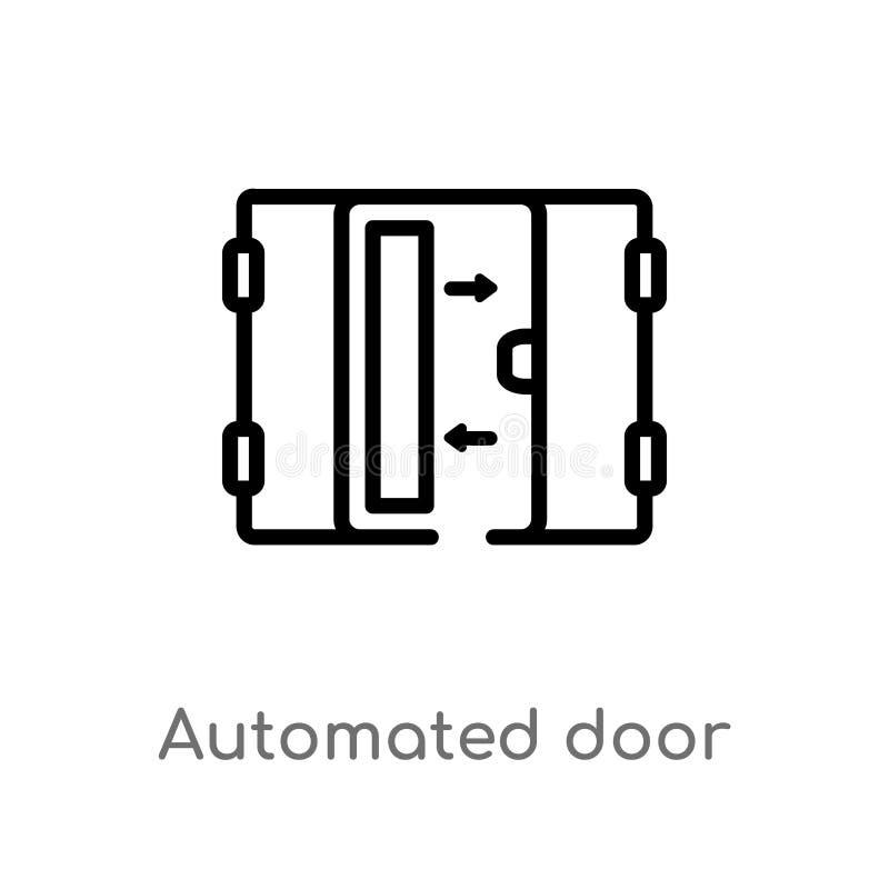 icono automatizado esquema del vector de la puerta línea simple negra aislada ejemplo del elemento del concepto casero elegante V ilustración del vector