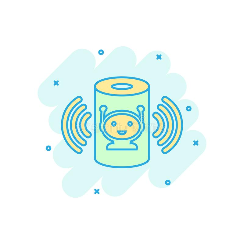 Icono auxiliar de la voz en estilo cómico Ejemplo casero elegante de la historieta del vector de la ayuda en el fondo aislado bla libre illustration