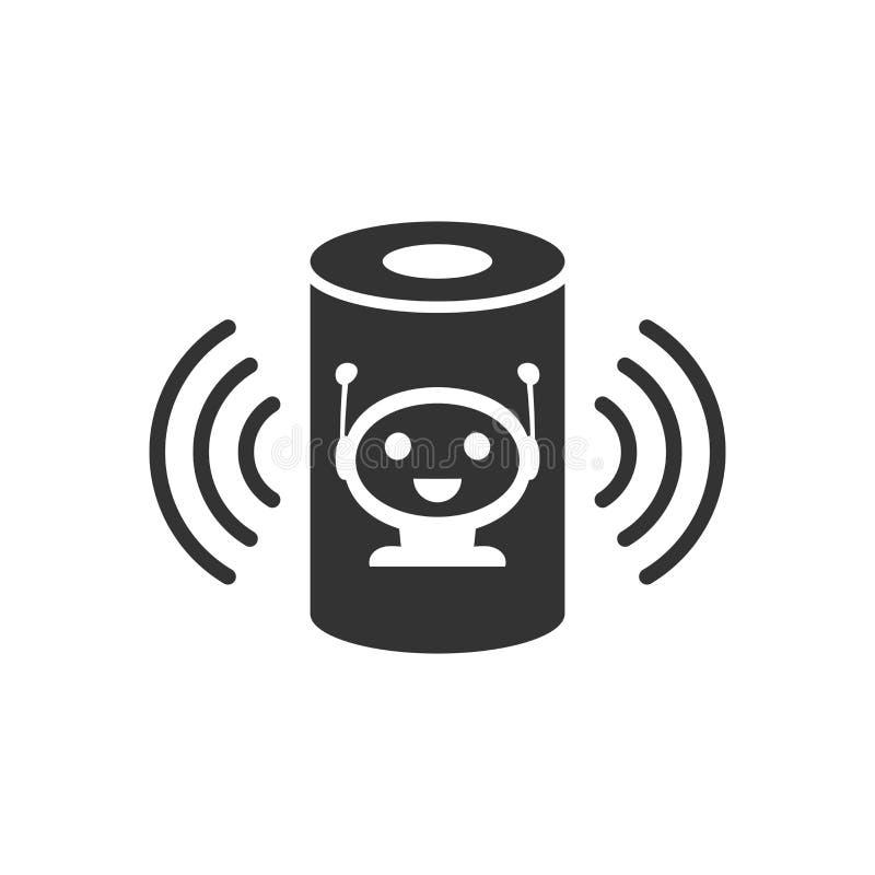 Icono auxiliar de la voz en estilo plano Ejemplo casero elegante del vector de la ayuda en el fondo aislado blanco Negocio del ce stock de ilustración