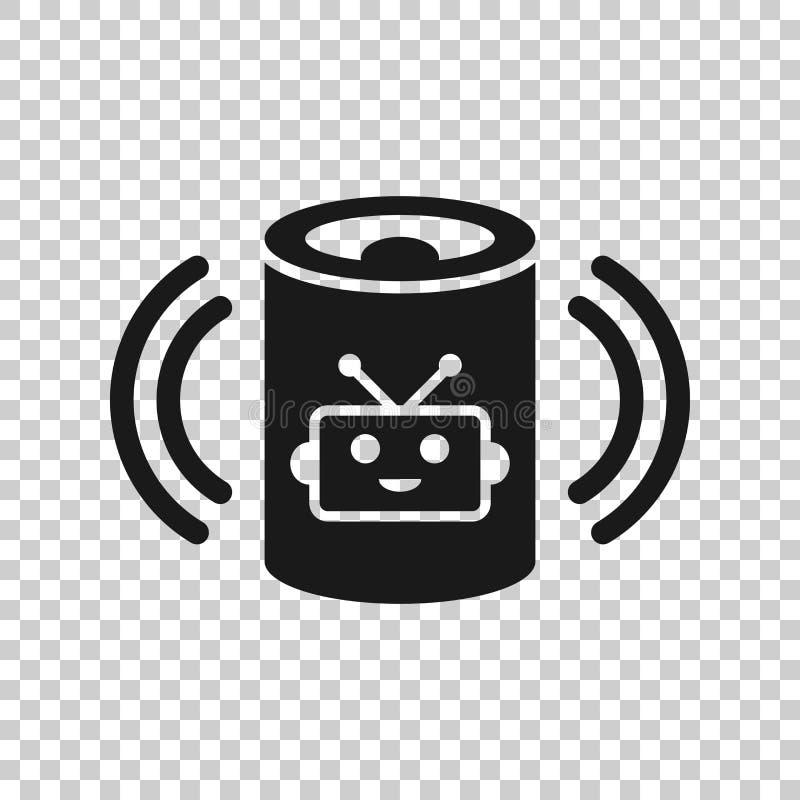 Icono auxiliar de la voz en estilo transparente Ejemplo casero elegante del vector de la ayuda en fondo aislado Negocio del centr stock de ilustración