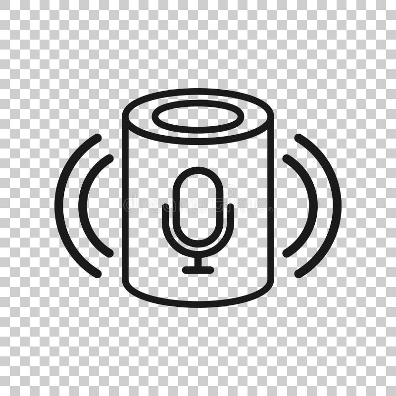 Icono auxiliar de la voz en estilo transparente Ejemplo casero elegante del vector de la ayuda en fondo aislado Negocio del centr libre illustration