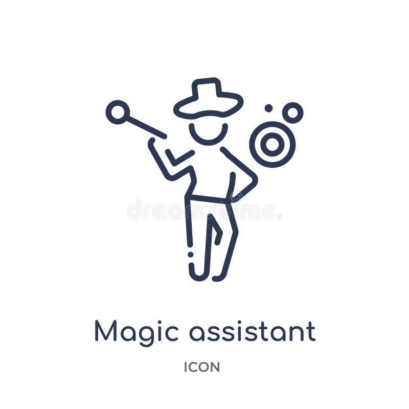Icono auxiliar mágico linear de la colección mágica del esquema Línea fina icono auxiliar mágico aislado en el fondo blanco magia stock de ilustración