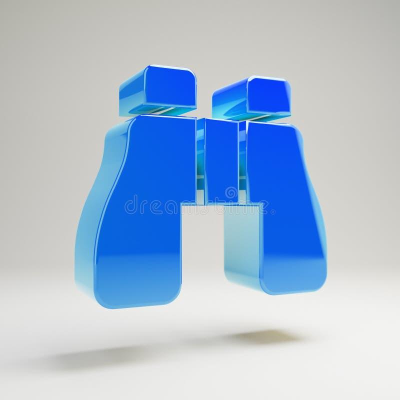 Icono azul brillante volumétrico de los prismáticos aislado en el fondo blanco stock de ilustración
