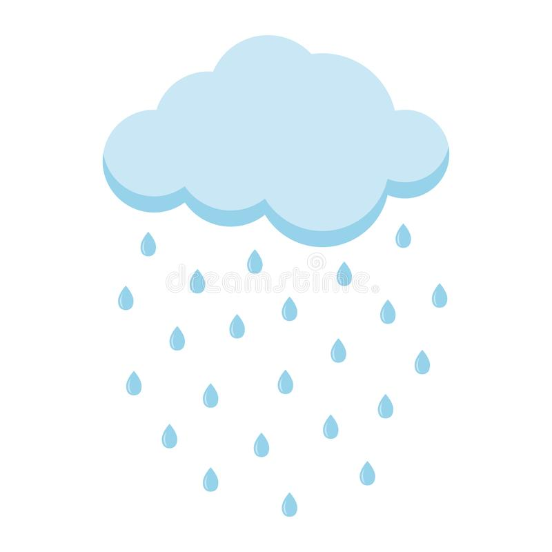 Icono azul claro del estilo de la historieta de la lluvia del verano con la nube aislada en el fondo blanco ilustración del vector