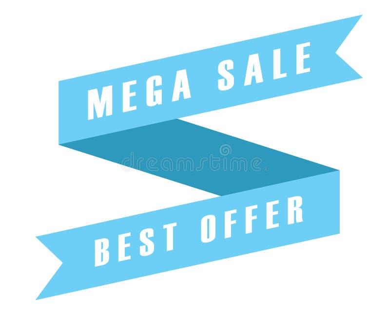 Icono azul de la bandera de la cinta de la etiqueta oferta mega de la venta de la mejor en blanco ilustración del vector