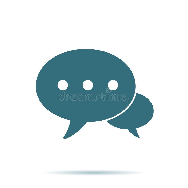 Icono azul de la burbuja del discurso aislado Moderno éntrenos en contacto con pictograma plano, negocio, márketing, Internet co ilustración del vector