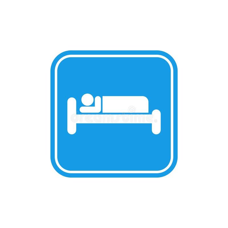 Icono azul de la cama, sueño del símbolo, motel del hotel de la noche libre illustration