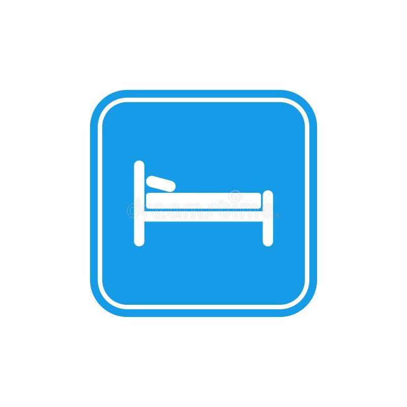 Icono azul de la cama, sue?o del s?mbolo, motel del hotel de la noche stock de ilustración