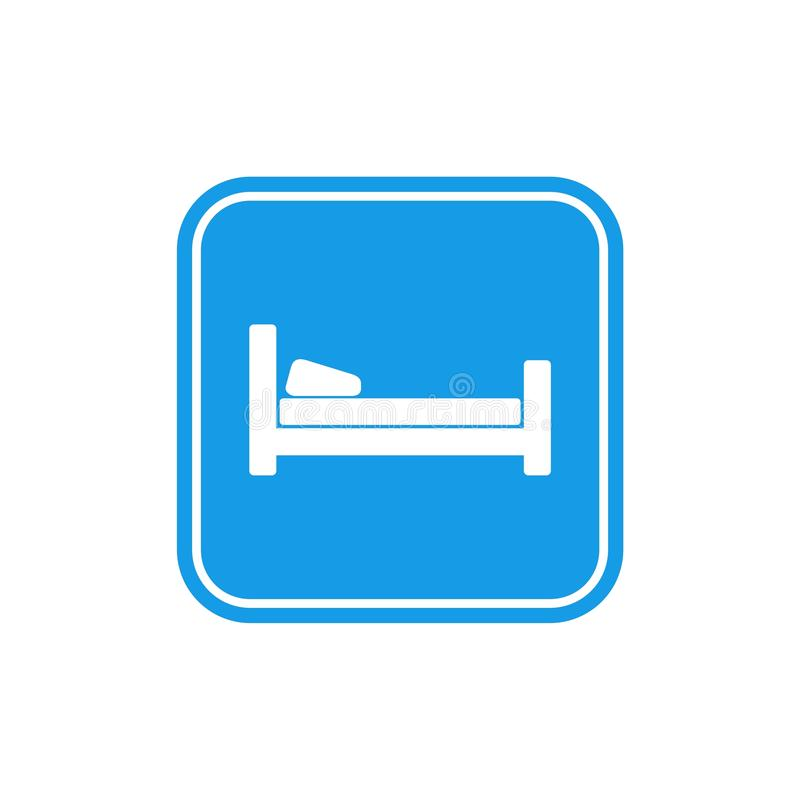 Icono azul de la cama, sue?o del s?mbolo, motel del hotel de la noche libre illustration