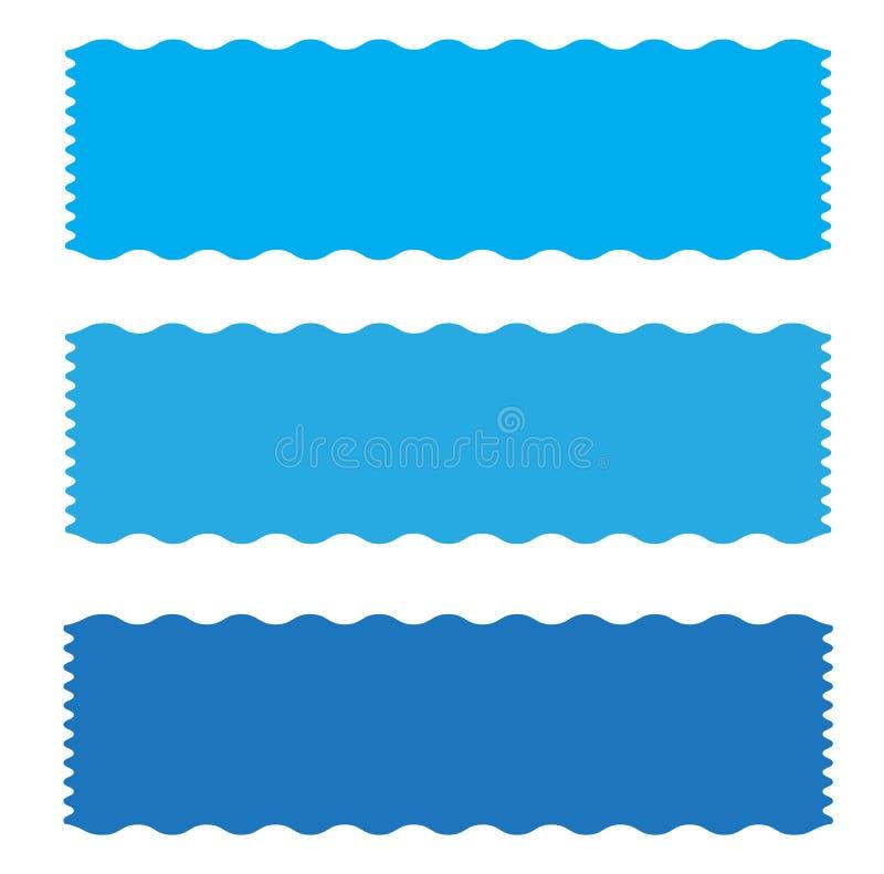 Icono azul de la cinta de la bandera en el fondo blanco ilustración del vector