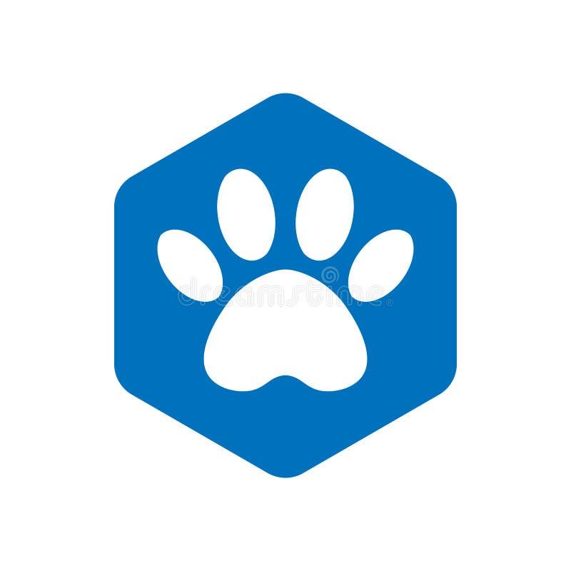 Icono azul de la forma del hexágono del vector con los animales Iconos de la pata del gato aislados huella animal hexagonal ilustración del vector