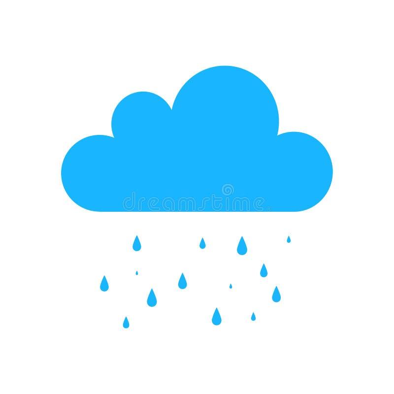 Icono azul de la lluvia aislado en fondo Muestra plana simple moderna Negocio, concepto de Internet trendy stock de ilustración