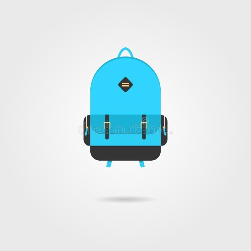 Icono azul de la mochila con la sombra libre illustration