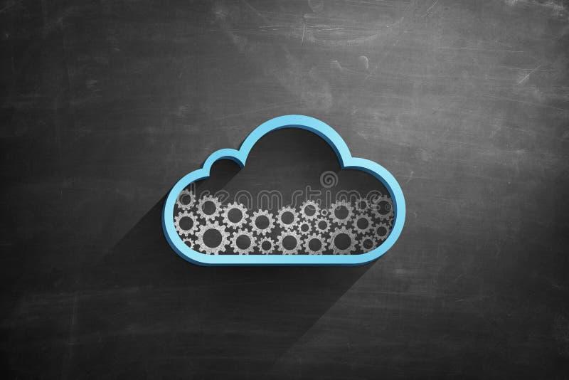 Icono azul de la nube en la pizarra con las ruedas dentadas stock de ilustración