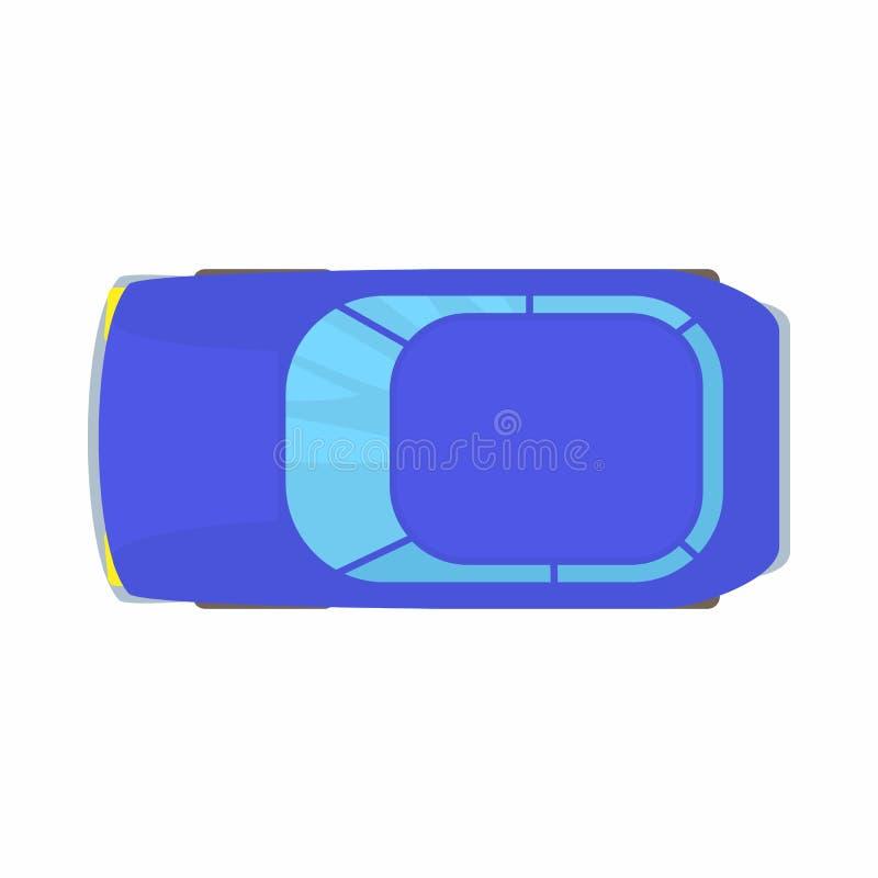 Icono azul de la opinión superior del coche, estilo de la historieta libre illustration
