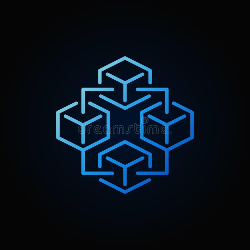 Icono azul de la tecnología de Blockchain - vector la muestra brillante de la cadena de bloque ilustración del vector